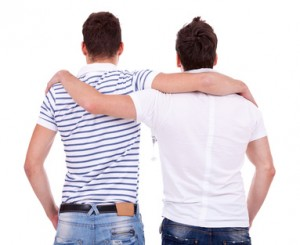 Back view of gay couple